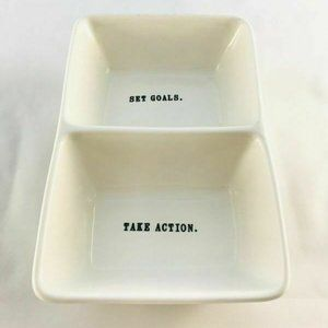Rae Dunn Set Goals Take Action Divided Dish Office